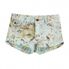 Short Flamants Roses Bleu ciel