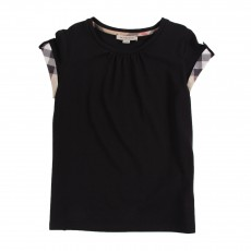 T-shirt Revers De Manches Tartan Noir