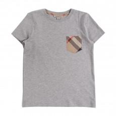 T-shirt Poche Tartan Gris chiné