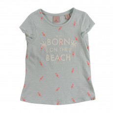 "T-shirt Hawaiiennes ""Born On The Beach"" Bleu pâle"
