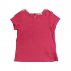 T-shirt Boutons Dorés Rose fuschia