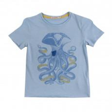 T-Shirt Pieuvre Pirate Bleu chiné