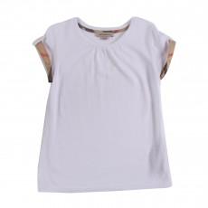T-shirt Revers De Manches Tartan Blanc