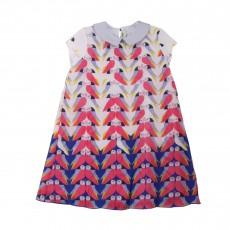 Robe Col Claudine Oiseaux Multicolore