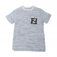 T-shirt Chiné Logo Bleu