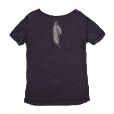 T-shirt Lurex Plume Dos Gris taupe