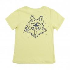 T-shirt Poche & Loup Dos Jaune pâle