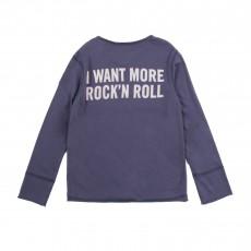"T-shirt Manches Longues ""I Want Rock N Roll"" Bleu"