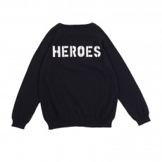 "Pull ""Heroes"" Dos Bleu nuit"