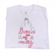 """T-shirt Col V """"Dreams Are Reality"""" Korrol Blanc"""