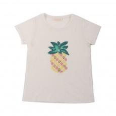 T-shirt Ananas Sequins Ecru