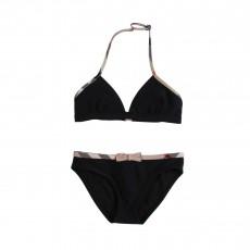 Bikini noeud tartan Noir