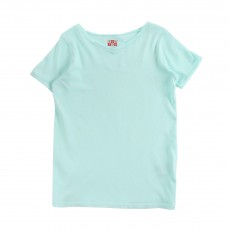 T-Shirt Col V Vert d'eau