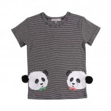 T-Shirt Rayé Panda Twins Noir