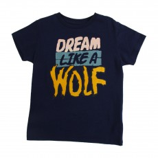"T-shirt ""Dream Like A Wolf"" Mome Bleu nuit"