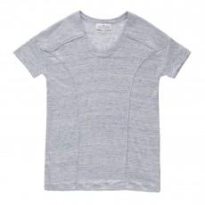 T-shirt Ample En Lin Bleu gris