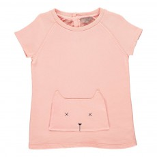 Sweat Poche Chat Rose pêche