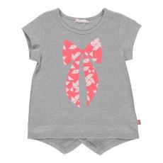 T-shirt Paillettes Nœud Gris chiné