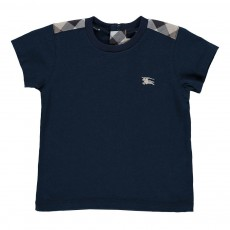 T-shirt Epaules Tartan Bleu indigo