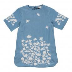 Robe Brodée Fleurs Sig Bleu jean