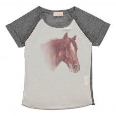 T-shirt Bicolore Cheval Gris chiné