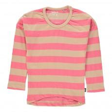T-Shirt Manches Longues Rayé Rose