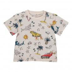 T-shirt Voiture-Palmiers Chuckle Ecru