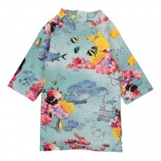 T-shirt de Bain Poissons Anti UV Splash Bleu ciel