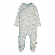 Pyjama Pieds Pois Becca Coton Bio Bleu