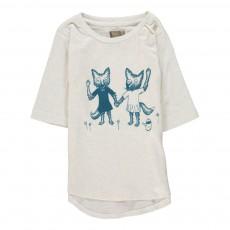 T-Shirt Manches 3/4 Renards Bieb Coton Bio Ecru