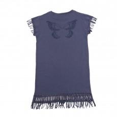 Robe Franges Papillon Dos Bleu