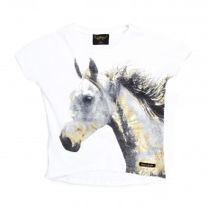 T-shirt Cheval Ebony Blanc