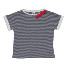 T-shirt rayé nœud Marta Bleu marine
