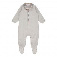 Pyjama Col Tartan Gris clair