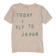 "T-shirt""Today I Fly To Japan"" Ecru chiné"