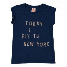 "T-shirt ""Today I Fly To New York"" Bleu indigo"