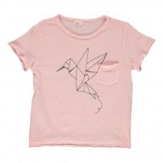 T-shirt Oiseau En Papier Cesar Rose pêche