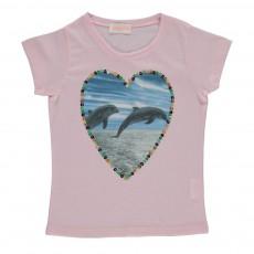 T-shirt Cœur Dauphin Rose