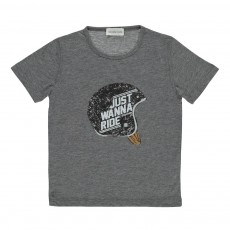 "T-shirt ""Just Wanna Ride"" Helmet  Gris chiné"