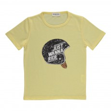 "T-shirt ""Just Wanna Ride"" Helmet  Jaune"