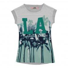 T-shirt Palmiers L.A Sequins Gris chiné