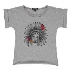 T-Shirt Lion Esther Gris chiné