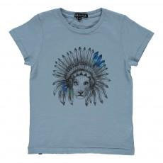 T-Shirt Lion Elvis Bleu chiné