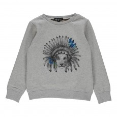 Sweat Molleton Lion Emet Gris chiné