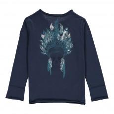 T-shirt Manches Longues Indien Dos Bleu
