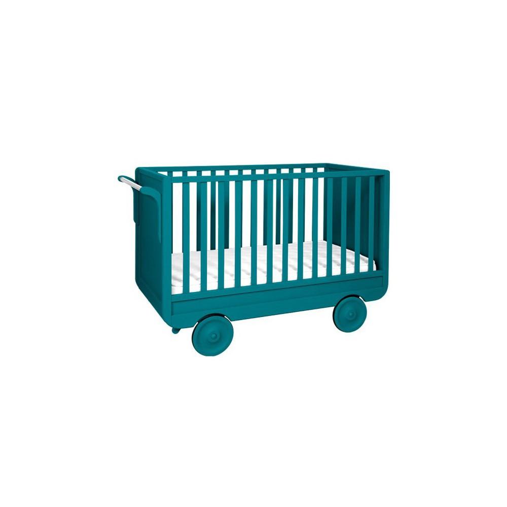 Lit volutif roulotte 60x120 cm bleu canard laurette mobilier smallable - Lit roulotte laurette ...