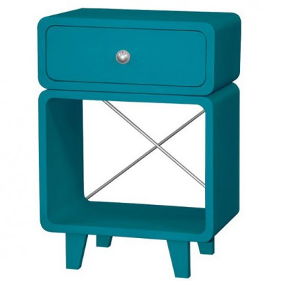 Table de chevet zzz bleu canard laurette mobilier - Table de chevet soldes ...