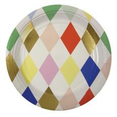 Assiettes en carton Harlequin losanges multicolores - Lot de 8