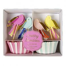 Moules à gâteaux et décorations Oiseaux - Lot de 24