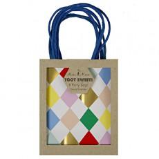 Sacs cadeaux Harlequin losanges multicolores - Lot de 8